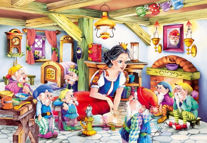 Puzzle Alba ca zapada si cei 7 pitici