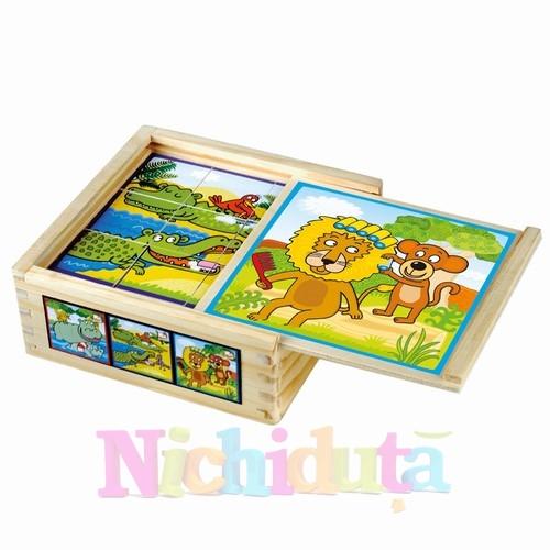Puzzle cuburi de lemn - animale din jungla