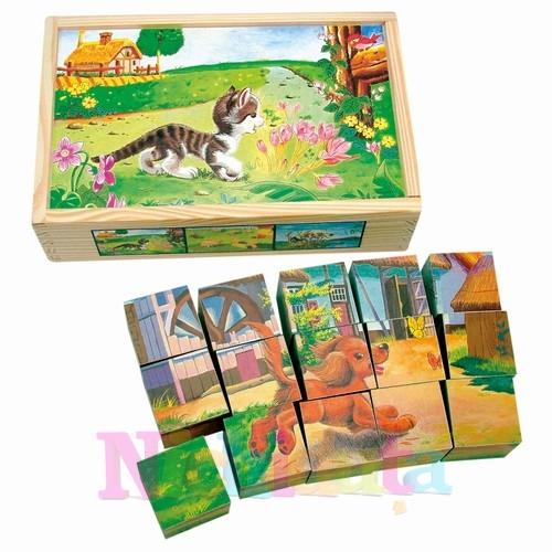 Puzzle cuburi de lemn - animale domestice
