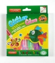 Set lipici cu sclipici, 6 culori PASTEL pt. creatii artistice