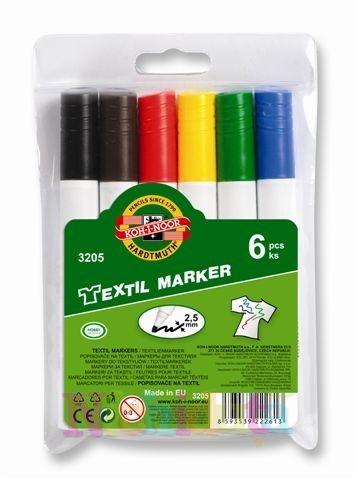 Set marker TEXTIL, 6 culori- varf rotund