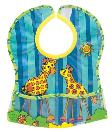 Baveta girafe cu buzunar colector moale Sassy