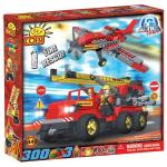 Set de construit vehicul si avion pompieri - Cobi