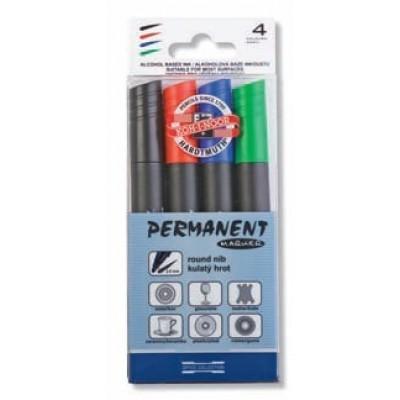Marker permanent, 2.5mm, 4 culoriset, KOH-I-NOOR 4005