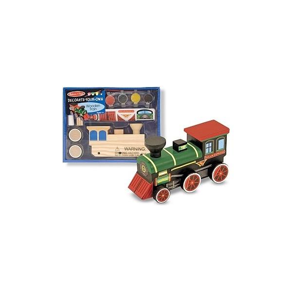 Trenulet din lemn de asamblat si pictat