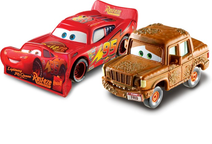 Set Masinute Cars 2 - Lightning McQueen si Fred