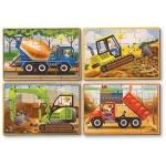 Set 4 puzzle lemn in cutie-Vehicule pentru constructii