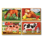 Set 4 puzzle lemn in cutie-Animale domestice