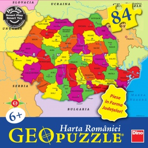 Puzzle geografic - Harta Romaniei (84 piese)