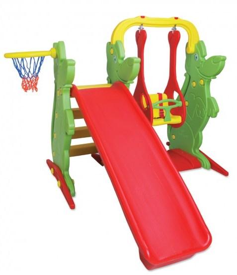 Centru de joaca 3 in 1 leagan, tobogan si cos de basket