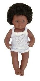 Miniland - Baby afroamerican (fata) 40cm