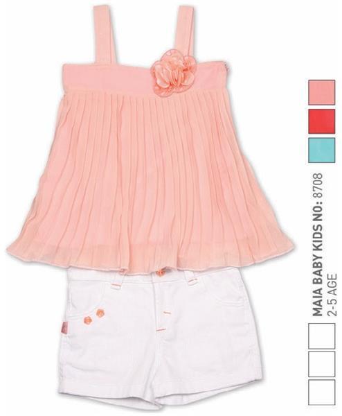 Set 2 piese pantalon scurt alb cu top roz