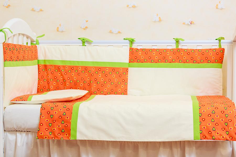 Lenjerie de pat 2 piese Inimioare portocalii cu verde