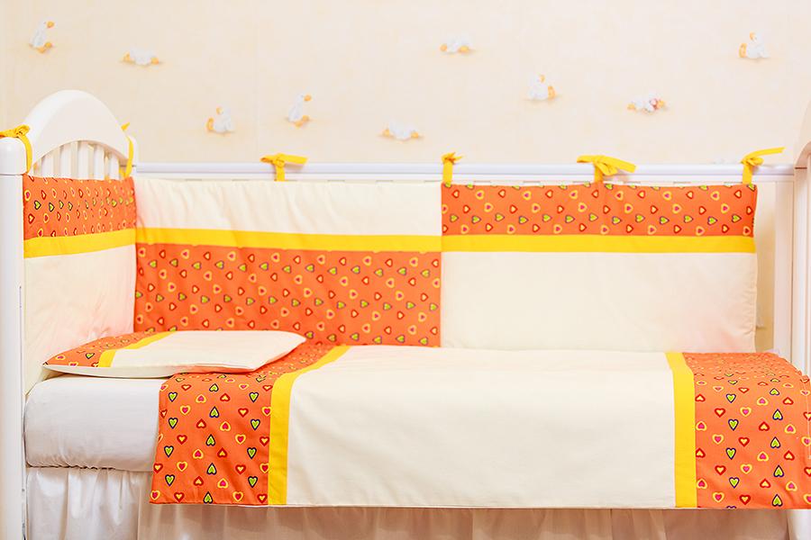 Lenjerie patut 3 piese Inimioare portocalii cu galben