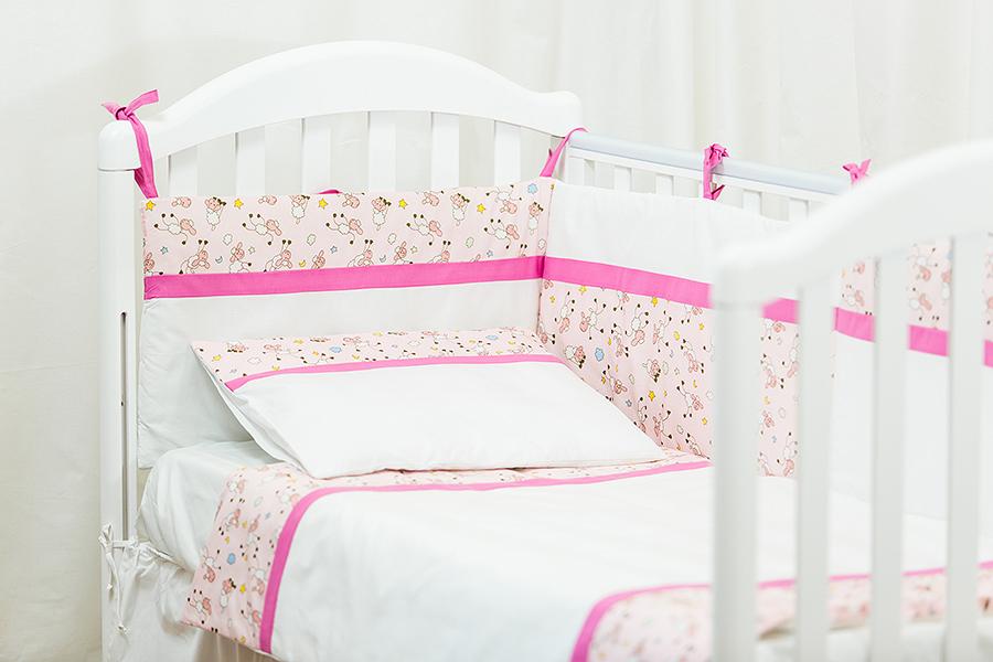 Lenjerie patut Blanite roz cu alb