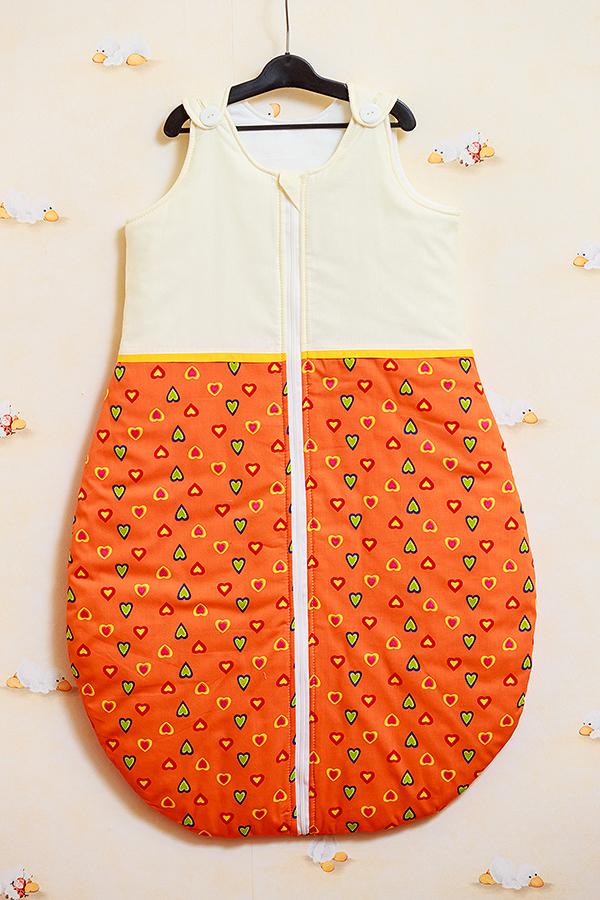 Sac de dormit toamna - iarna Inimioare portocalii cu galben 60 cm