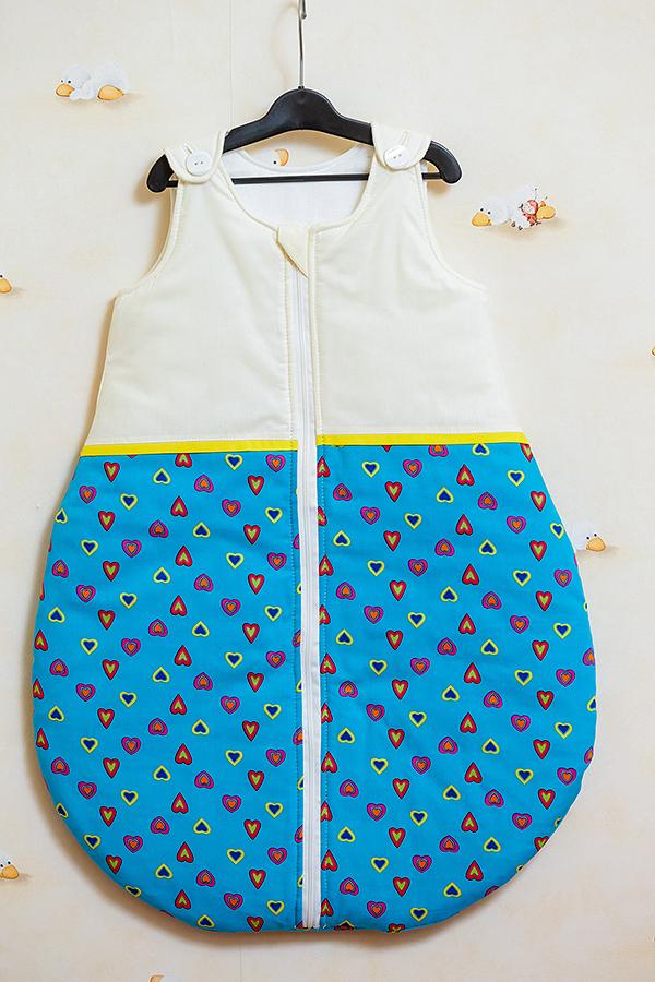 Sac de dormit toamna - iarna Inimioare turcoaz cu galben 60 cm