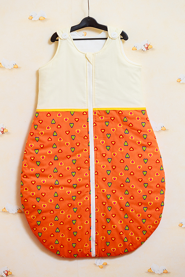 Sac de dormit vara Inimioare portocalii cu galben 85 cm