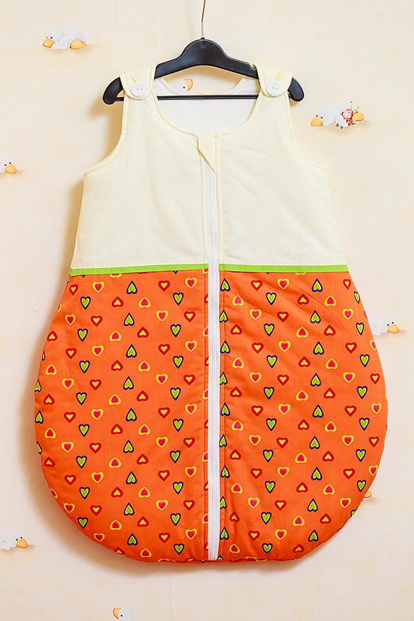 Sac de dormit vara Inimioare portocalii cu verde 110 cm