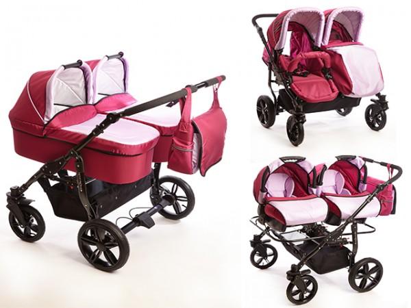 Carucioare gemeni 3 in 1 Mystroll Twins 2014 Pinkberry