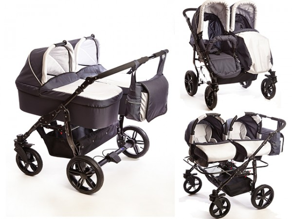 Carucioare gemeni 3 in 1 Mystroll Twins 2014 Scotia grey