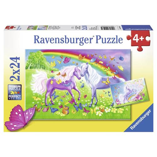 Puzzle Cai Si Curcubeu, 2x24 piese