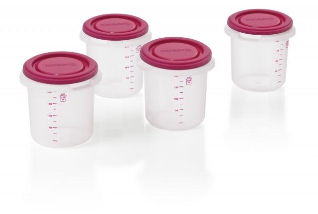 Set 4 recipiente plastic BPA free pink