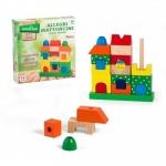 Jucarie educativa din lemn Cuburi de stivuit colorate