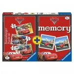 Puzzle Memory Disney Cars, 3 Buc In Cutie 15/20/25 Piese
