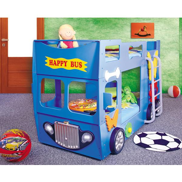 Patut in forma de masina Happy Bus Albastru