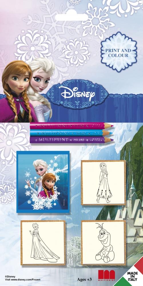 Set creativ cu 3 stampile si culori Frozen
