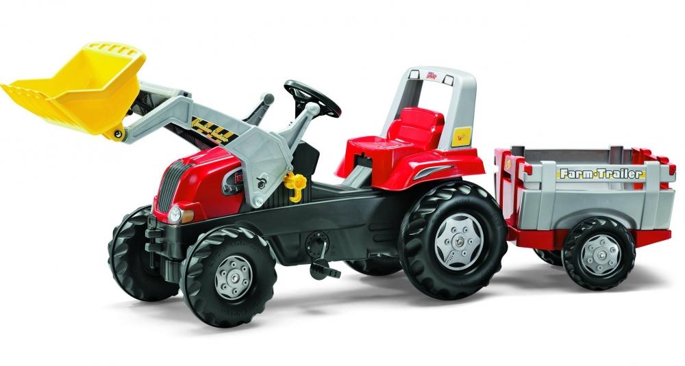 Tractor cu pedale Rolly Toys Junior cu remorca si cupa
