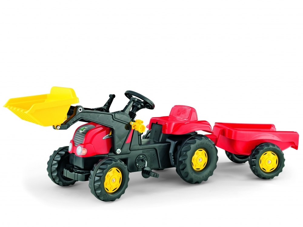 Tractor cu pedale Rolly Kid X Rosu cu remorca si cupa