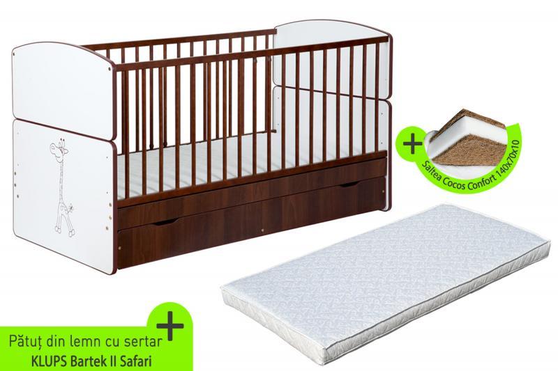 Patut Transformabil Pentru Copii Bartek II Safari + Saltea 10 cm