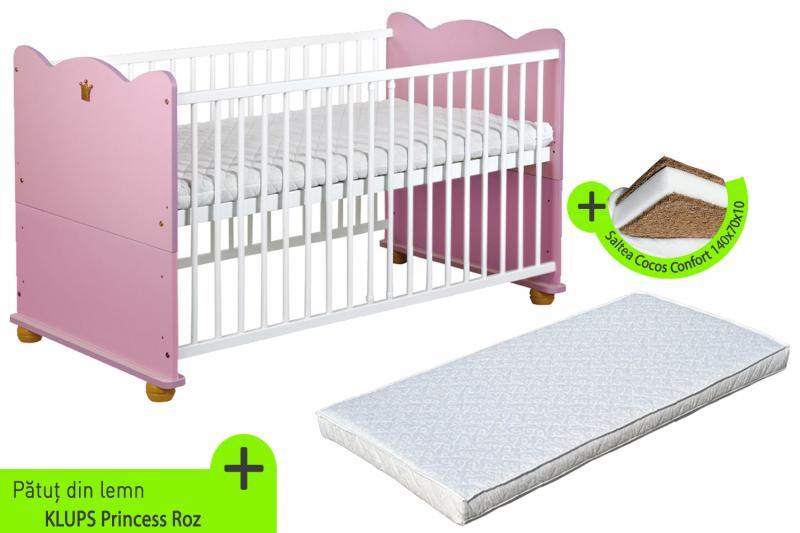Patut Transformabil Pentru Copii Princess + Saltea 10 cm