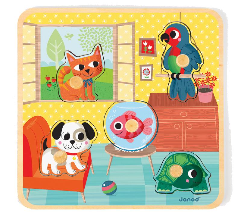 Puzzle cu maner - Animale de companie (5 piese) (J07068)