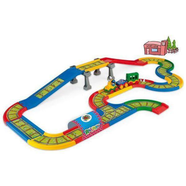 Cale ferata cu pod si pista 4,1m lungime Wader Kid Cars 3D