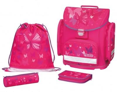 Ghiozdan echipat Midi Plus Pink Butterfly Herlitz
