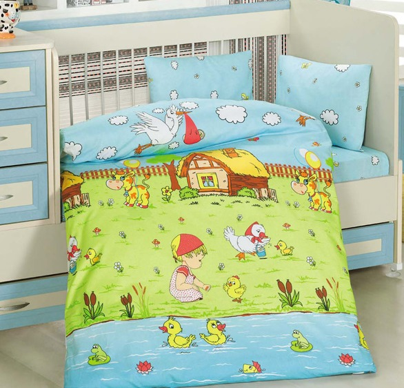 Lenjerie de pat pentru bebelusi 4 piese Dream Galben