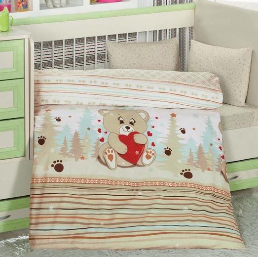 Lenjerie de pat pentru bebelusi 4 piese Ursuletul Crem