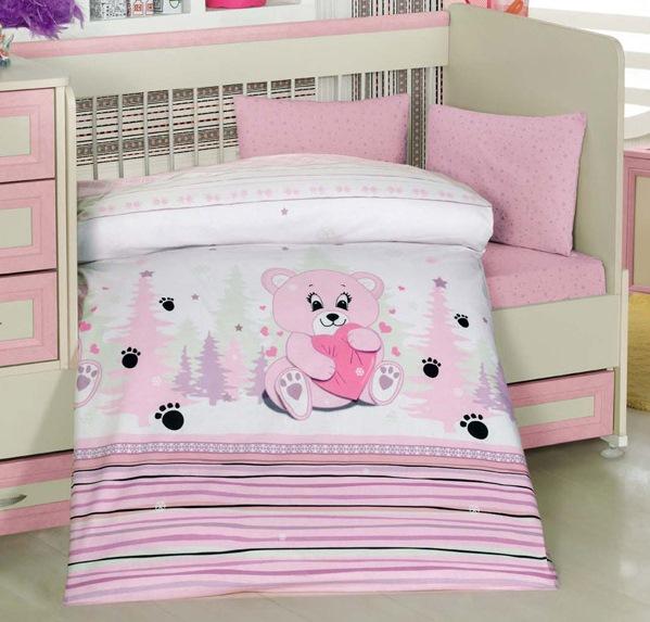 Lenjerie de pat pentru bebelusi 4 piese Ursuletul Roz