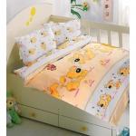 Lenjerie de pat pentru bebelusi 8 piese Catelusul galben