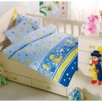 Lenjerie de pat pentru bebelusi 8 piese Mak Mak Albastru