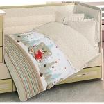 Lenjerie de pat pentru bebelusi 8 piese Ursuletul Crem