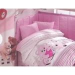 Lenjerie de pat pentru bebelusi 8 piese Ursuletul Roz