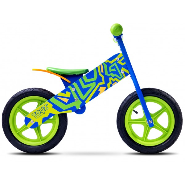 Bicicleta din lemn Toyz by Caretero Zap BlueGreen