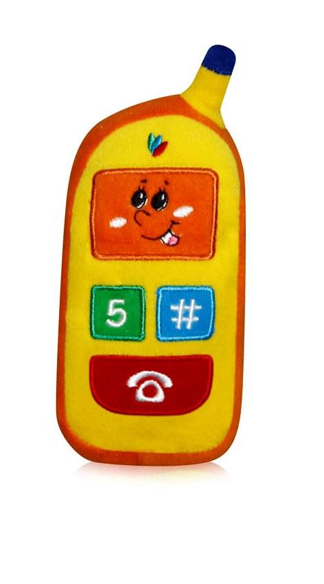Jucarie telefon mobil plus - corp orange si display galben