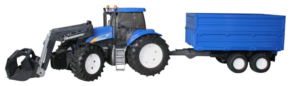 New Holland Tractor cu incarcator frontal si remorca