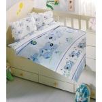 Lenjerie de pat pentru bebelusi 8 piese Catelusul albastru