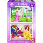 Puzzle Aurora + Frumoasa si Bestia 2 x 48